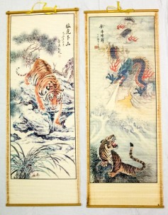 Asian prints on bamboo